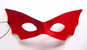 Ladies Genuine Handmade Red Vamp Bat Italian Leather Mask (1)
